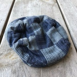 Gap Navy Blue Gray Plaid Patchwork Driving Cap